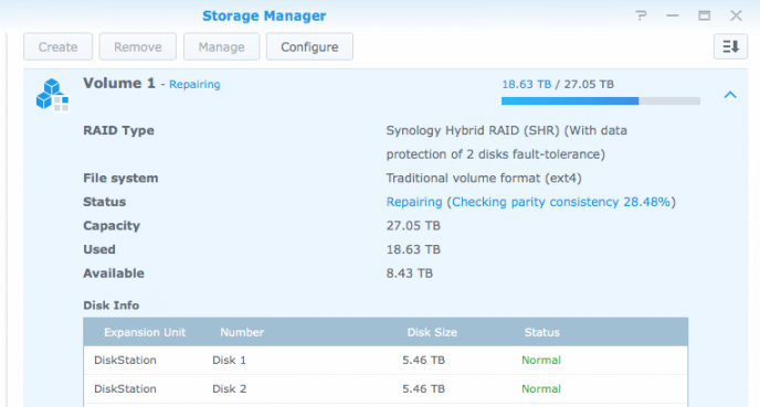 Synology — How to Check RAID Rebuild Progress - McLean IT Consulting